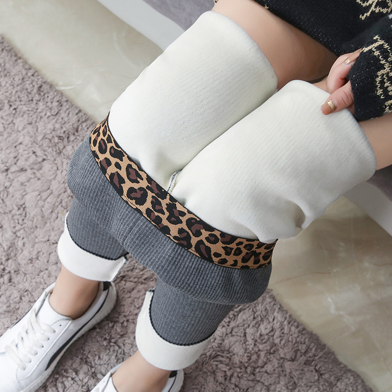 New Fashion Women's Warm Skinny Pants Autumn Winter High Elasticity Leopard Waist Thick Rib Velvet Plus Size Ladies Leggings