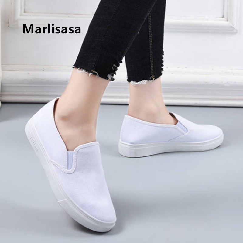 Cresfimix Mocasines Mujer Women Cute Sweet Spring Slip On White Canvas Shoes Ladies Comfortable Black Anti Skid Shoes F5711