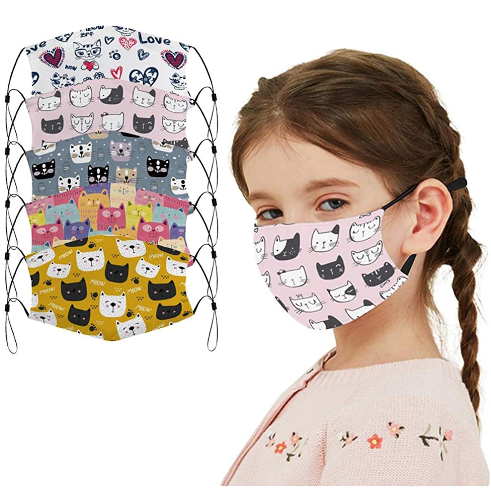 Маска для лица многоразовая детская с мультяшным котом, регулируемый верёвочный чехол для рта, дышащая защита