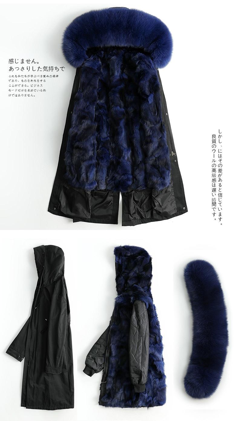 Fur Women's Coat Natural Fox Fur Parka Winter Jacket Women Long Trench Coat Female Warm Long Jackets Manteau Femme MY S