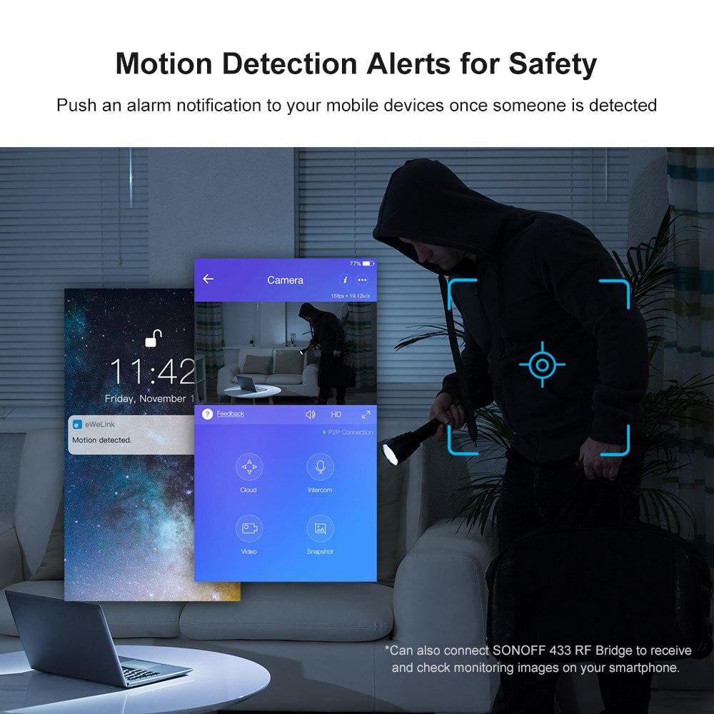 Sonoff GK 200MP2 B 1080P HD беспроводная WiFi IP камера безопасности детектива движения 360 ° Просмотр активности оповещения Ewelink управление приложением - 4