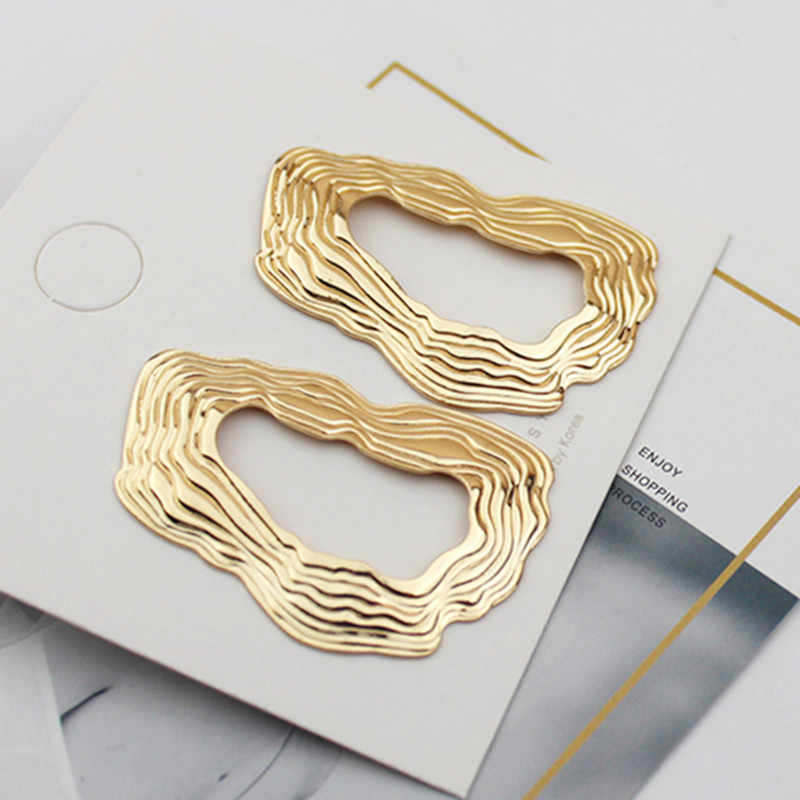 EK148 European Brand Big Drop Earrings for Women Hollow Irregular Geometric Oval Round Metal Exaggerated Earrings ZA Jewelry