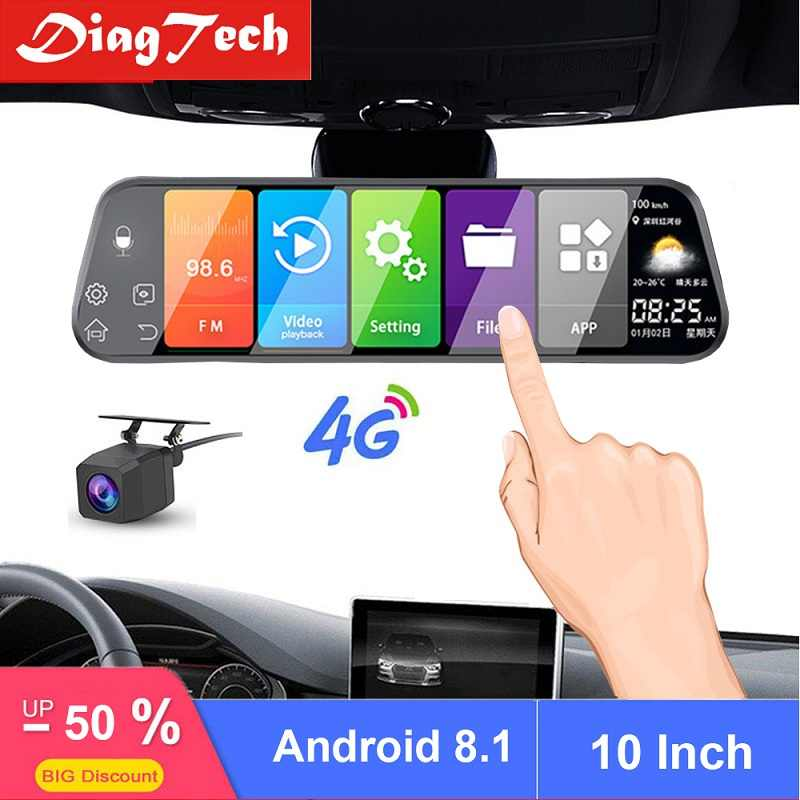 10 Inch GPS Kaca Spion Mobil Auto Recorder Android 8.1 Mobil DVR Cermin Dash Kamera 4G & WiFi FHD mobil Cermin VIdeo ADAS