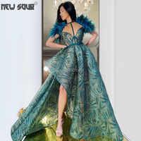 Feathers Dubai Formal Evening Dresses High Split Pageant 2020 Robe De Soiree Turkish Islamic Prom Dress Saudi Arabia Party Gowns