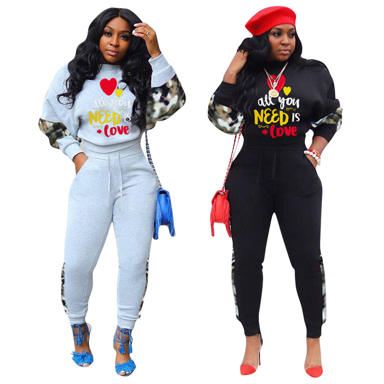 """Casual Valentine 2 PCS Set Women Clothes Outfits Fashion Letter Printed """"all You Need Is Love"""" Long Sleeve Top and Pants Suits