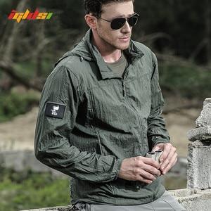 Image 1 - Jaqueta masculina militar, nova jaqueta de verão de 2020, à prova d água, de secagem rápida, tática, com capuz, protetor solar