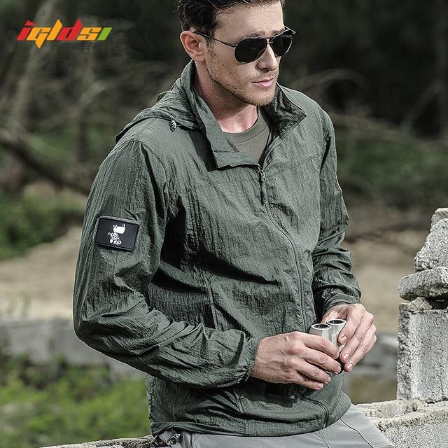 Jaqueta masculina militar, nova jaqueta de verão de 2020, à prova d água, de secagem rápida, tática, com capuz, protetor solar