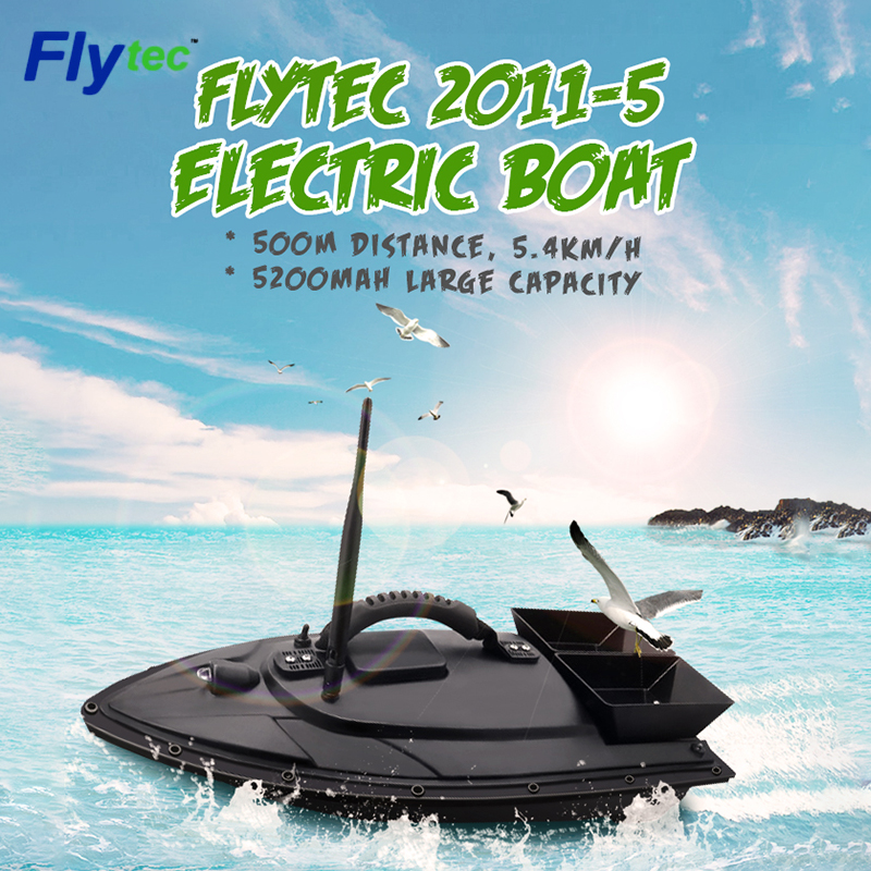 <font><b>Flytec</b></font> 2011-5 / V500 / <font><b>V007</b></font> 5.4km/h 500M Double Motor Electric Fishing Bait <font><b>RC</b></font> Boat Fish Finder Boat Kit / RTR Version image