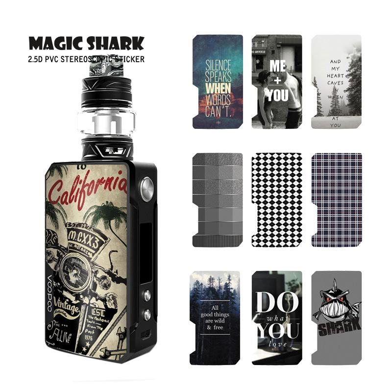 Magic Shark Vintage Motorcycle Cells English Words Stereo Ultra Thin Case Cover Sticker Film Skin For Voopoo Drag 2