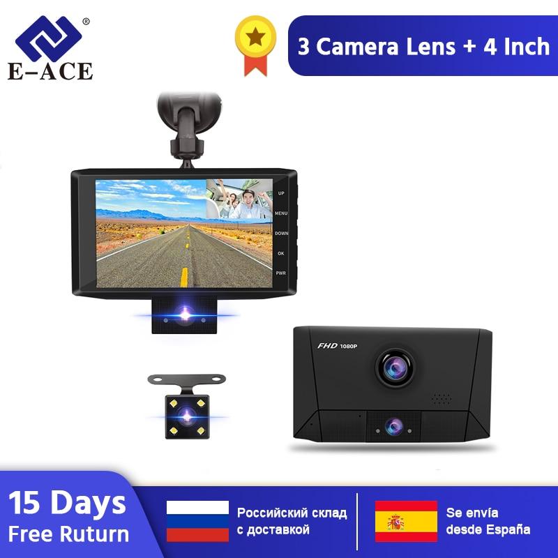 E-ACE B13 voiture Dvr 4.0 pouces Dash Cam 3 caméras lentille Auto registraire FHD 1080P enregistreur vidéo double lentille DVRs vision nocturne Dashcam