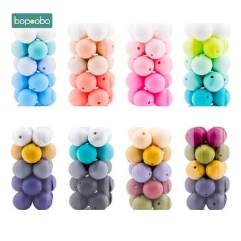 Bopoobo 12mm Silicone Beads 9mm 30pc Beads Food Grade Baby Teething Beads DIY Nursing Bracelet Silicone Tiny Rod Baby Teether