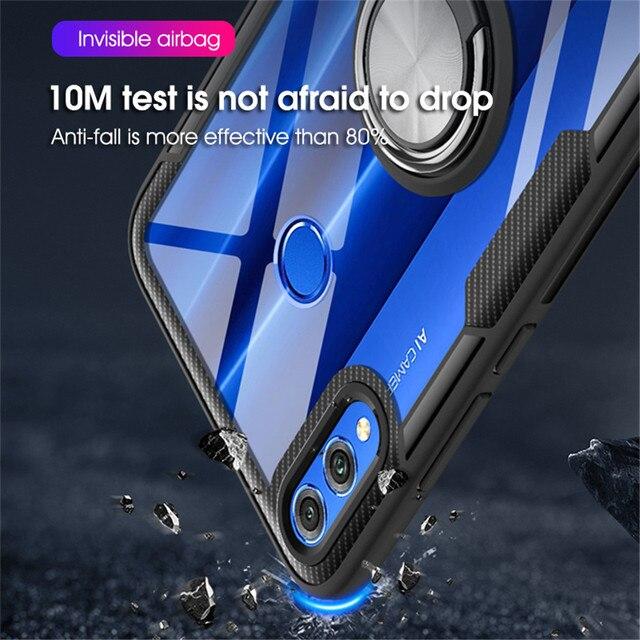 Coque pour Huawei Honor 8X MAX 10 lite 10i support du boîtier de bague antichoc Transparent pour Huawei P Smart Plus 2019