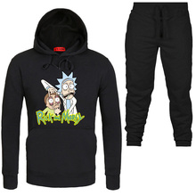 ropa de hombre 2019 Brand New Men Sets Fashion Autumn winter Sporting Suit Hoodies+Sweatpants rick and morty print tracksuit men