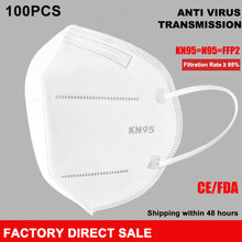 100PCS KN95 Face Mask N95 FFP2  PM2.5 Anti Pollution Mask Filter Non-woven Disposable Masks For Germ Dust Protection Pack 500pcs kn95 face mask n95 ffp2 pm2 5 anti pollution mask filter non woven disposable masks for germ dust protection pack