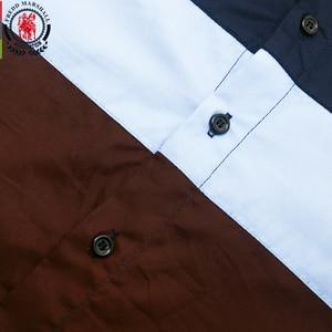 Image 3 - Fredd מרשל 2020 חדש אופנה טלאי חולצה גברים מזדמנים מותג בגדי זכר 100% כותנה ארוך שרוול Colorblock חולצה חולצות 219