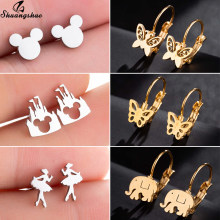 Shuangshuo Punk Stainless Steel Mickey Butterfly Earrings for Women Gold Cartoon Animal Stud Earings Kids Jewelry Ear piercing(China)