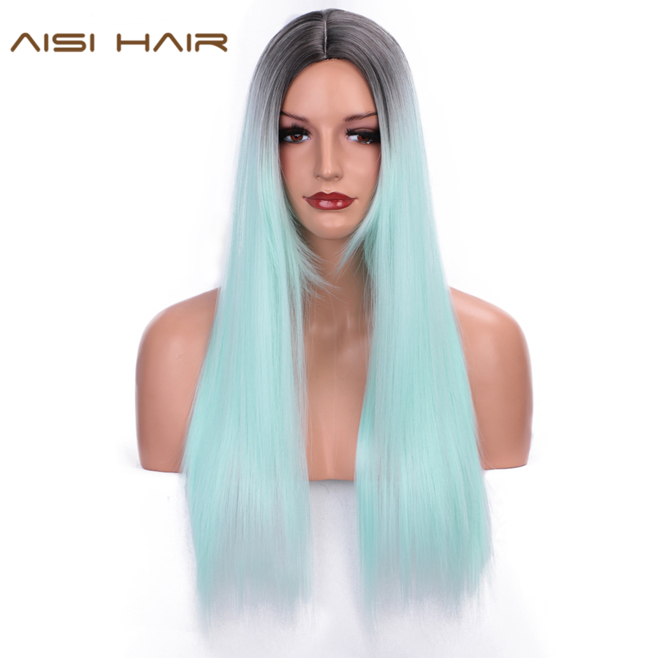 AISI HAIR Ombre Green Straight Long Synthetic Wigs For Black Women 24 Inch Middle Part Two Tone Wig Can Be Cosplay Party Wigs