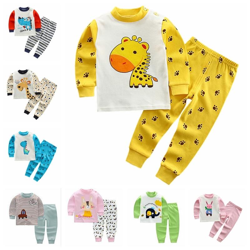 Kids Long-sleeved T-shirt+Pant 2pcs Casual Children Cotton Pajamas Sets Boys Clothing Set Girls Cartoon Sleepwear Suit