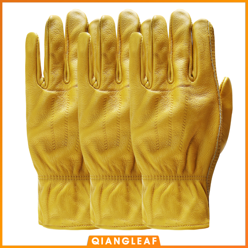 QIANGLEAF 3pcs New Men's Work Gloves Cowhide GlovesLeather Security Protection Wear Men Safety Winter Working Welding Glove 3ZG