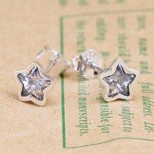 original 925 Sterling Silver Pan Earrings Star Shine Bright Pentagram Pan Earring For Women Gift  Jewelry
