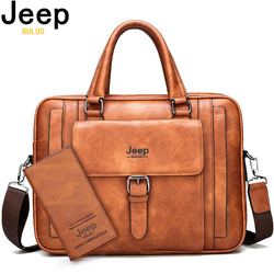 JEEP BULUO Big Size Men Briefcase Bags For 15.6 inches Laptop Split Leather Business Handbag Male Shoulder Travel Bag office
