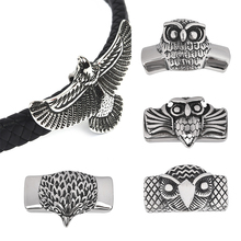 2pcs Eagle OWL European Beads for Bracelet Stainless Steel charms Men Jewelry Making DIY Handmade Craft fit 12*6mm Leather Cord