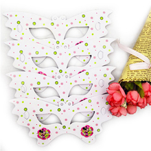 10pc/set Cartoon Minnie Mouse Party Supplis Paper Mask Kids Birthday Theme Decorations Eye Cover Baby Shower Favors