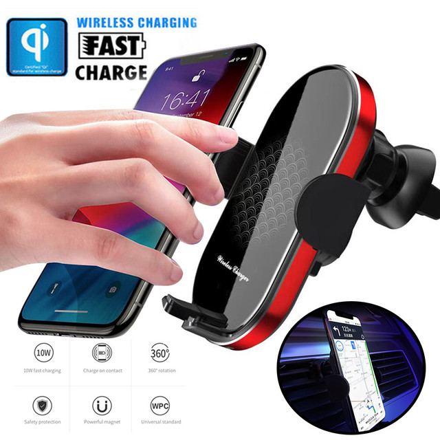 Automatic Clamping 10W Fast Wireless Car Charger & Car Phone Air Vent Holder with Infrared Induction Qi Wireless Charger