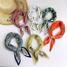 Designer printed pleated square scarf for women Joker neck scarves Handkerchiefs elegant shawls and wraps