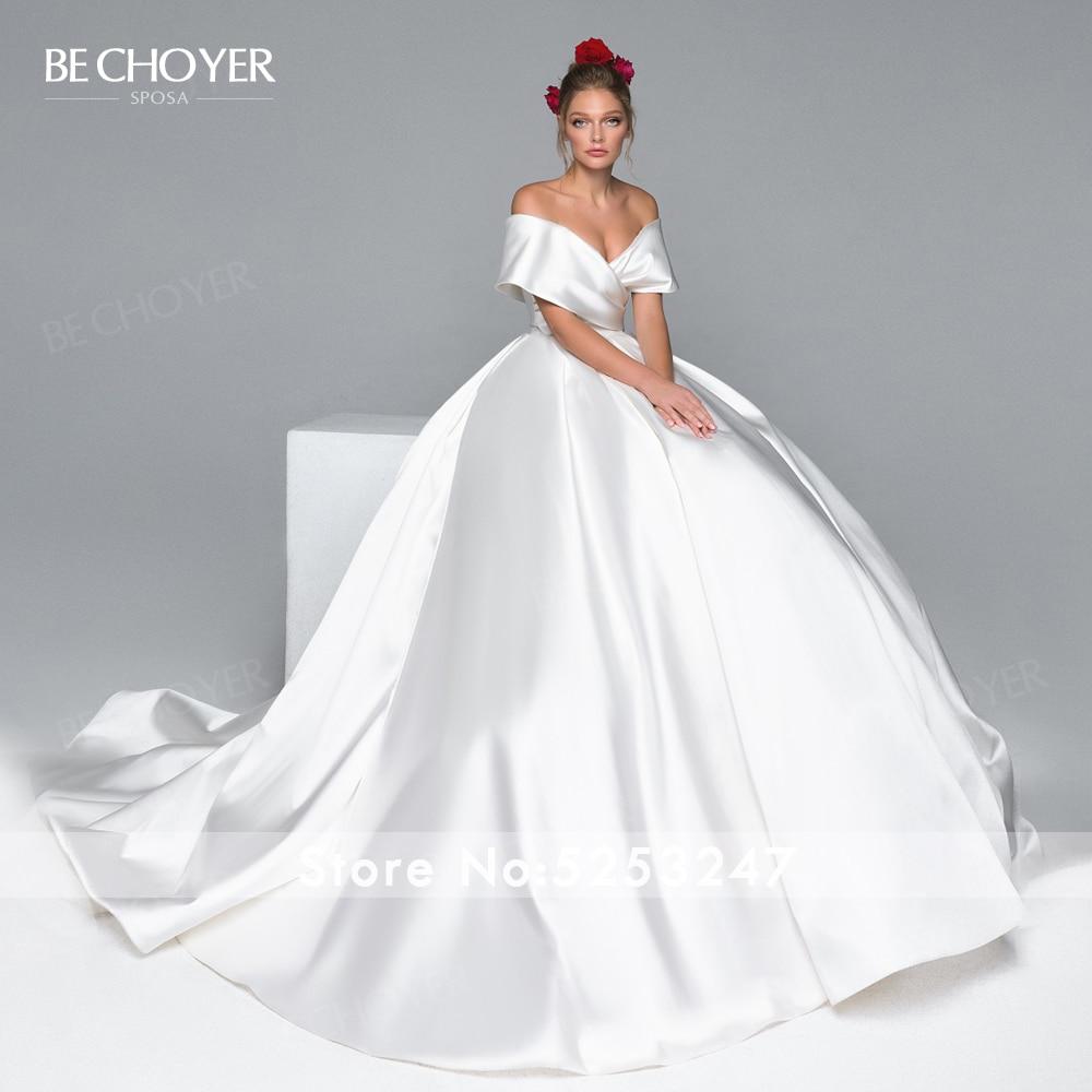 Image 3 - Simple Off Shoulder Wedding Dress BE CHOYER EL04 Satin Zipper A Line Court Train Princess Bride Gown Customized Vestido de NoivaWedding Dresses   -