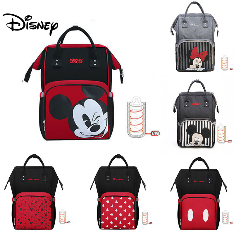 Disney Minnie Mickey USB Diaper Bag Baby Bags For Mom Multifunctional Bag  Fashion Mummy Maternity Nappy Bag Baby Stroller Bag
