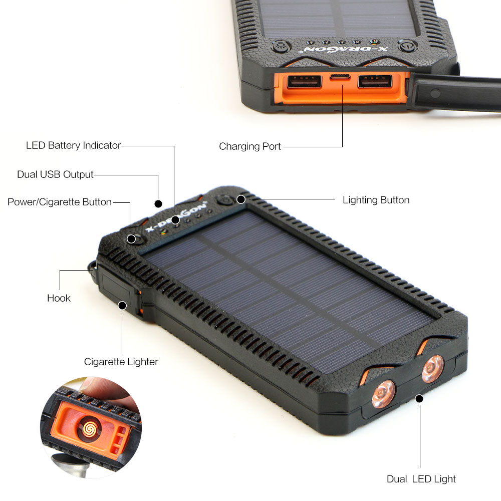 Waterproof Solar Power Bank with Cigarette Lighter and Dual USB Output Ports for Smartphone Charging