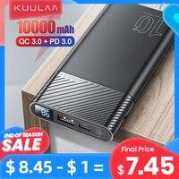 KUULAA-Batería externa QC PD 3.0 con USB, cargador externo de 10000 mAh, banco de energía de alta velocidad, compatible con Xiaomi Mi 10