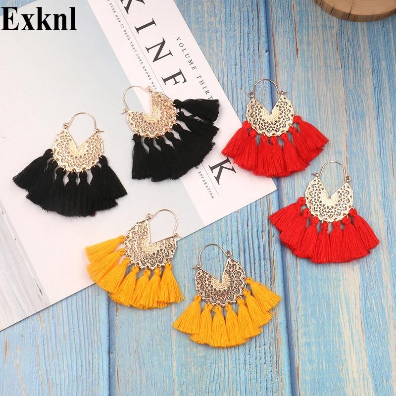 Exknl Bohemian Fan Shaped Tassel Earrings for Women Female Fringe Handmade Dangle Earring Vintage Dangle Drop Earrings Jewelry