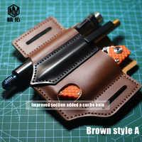 1PC portátil EDC multifunción Universal cuchillo pluma de cuero almacenamiento bolsa de cuero cuchillo cubierta Scabbard cintura Clip herramienta al aire libre