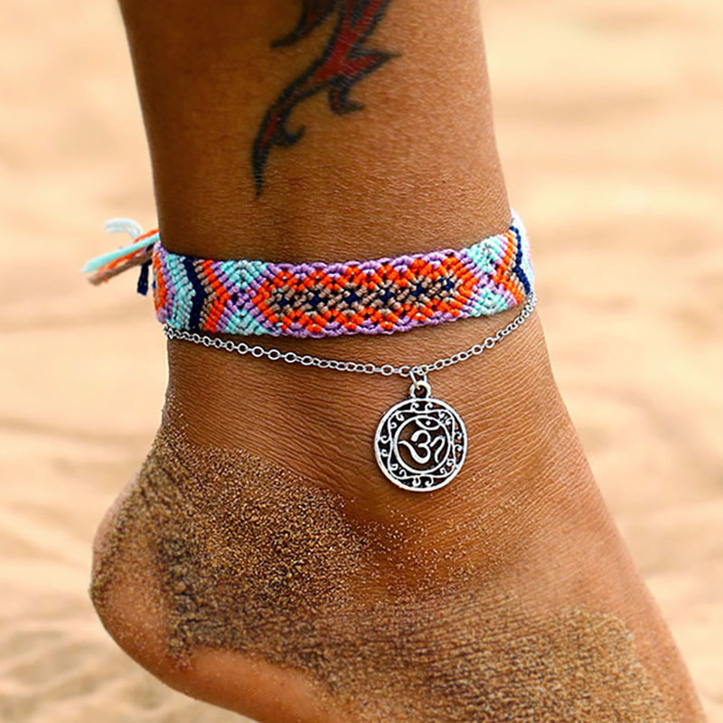 FAMSHIN Bohemian Wave Anklets For Women 2020 New Handmade Cotton Anklet Bracelets Fashion DIY Female Beach Foot Jewelry Gifts