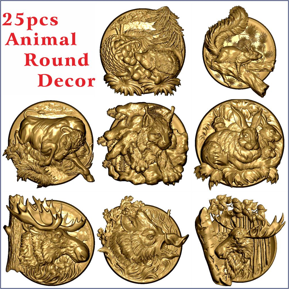 25 Pcs Animal Decor 3D STL Models Hunting Fishing For CNC Router Carving Machine Artcam Aspire_Animal Round Decoration