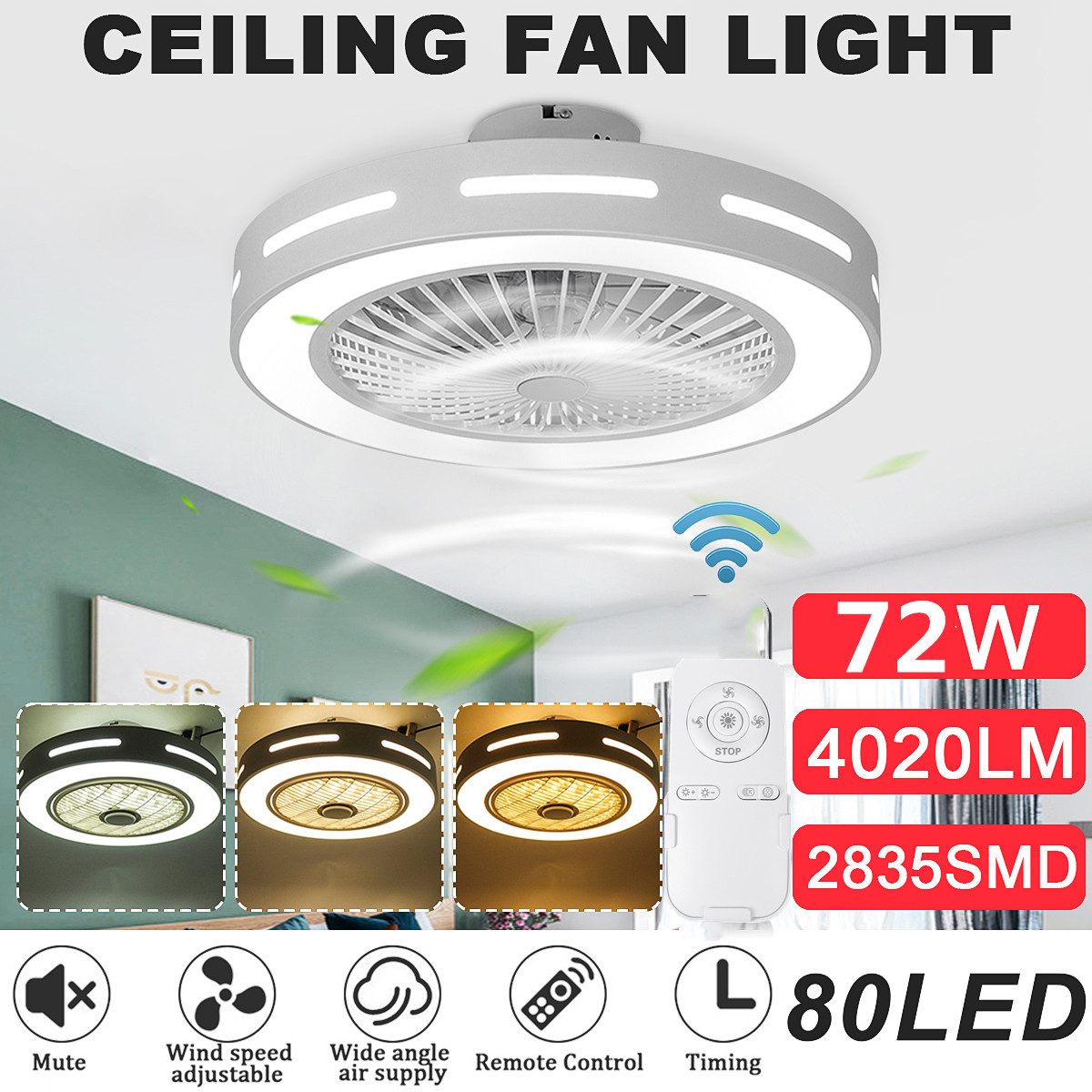 Modern Trendy LED Ceiling Fans Lights 80W Ceiling Lights With 3 Colors Lighting&3 Gear Speed Lamp With Remote Control AC185-250V