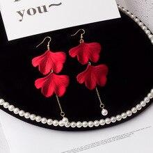Korean new design vintage peal  red tassel Ginkgo biloba earrings for women long in drop hot fashion jewelry