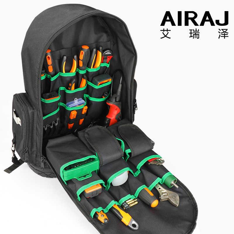 Рюкзак для инструментов AIRAJ, водонепроницаемая сумка для инструментов, сумка для хранения на резиновой подошве, рюкзак с несколькими карманами, подходит для сумки электрика