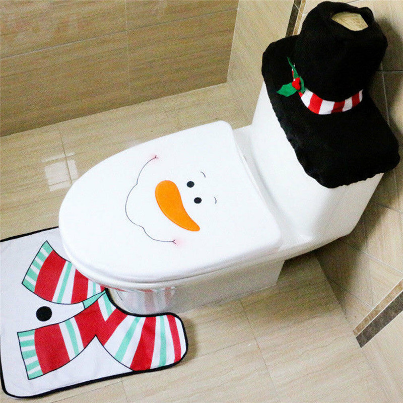 3PCS / Set Christmas Toilet Seat Cover Santa Claus <font><b>Deer</b></font> Snowman Cover <font><b>Bathroom</b></font> <font><b>Mat</b></font> Xmas Decor New Product <font><b>Bathroom</b></font> Cover image