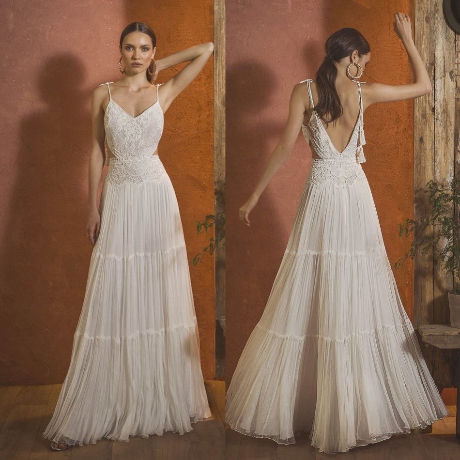 2020 Bohemian Wedding Dresses Spaghetti Straps Lace Appliques Chiffon Bridal Gowns Backless Floor Length A-Line Wedding Dress
