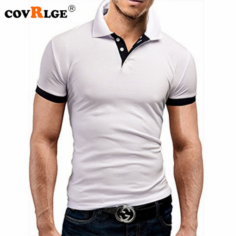 Covrlge Polo Shirt Men Summer Stritching Men's Shorts Sleeve Polo Business Clothes Luxury Men Tee Shirt Brand Polos MTP129 2