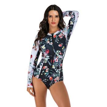 Women Long Sleeve Floral Print Zipper One Piece Swim Bathing Suit Surf Suit Wetsuit Swimwear 3