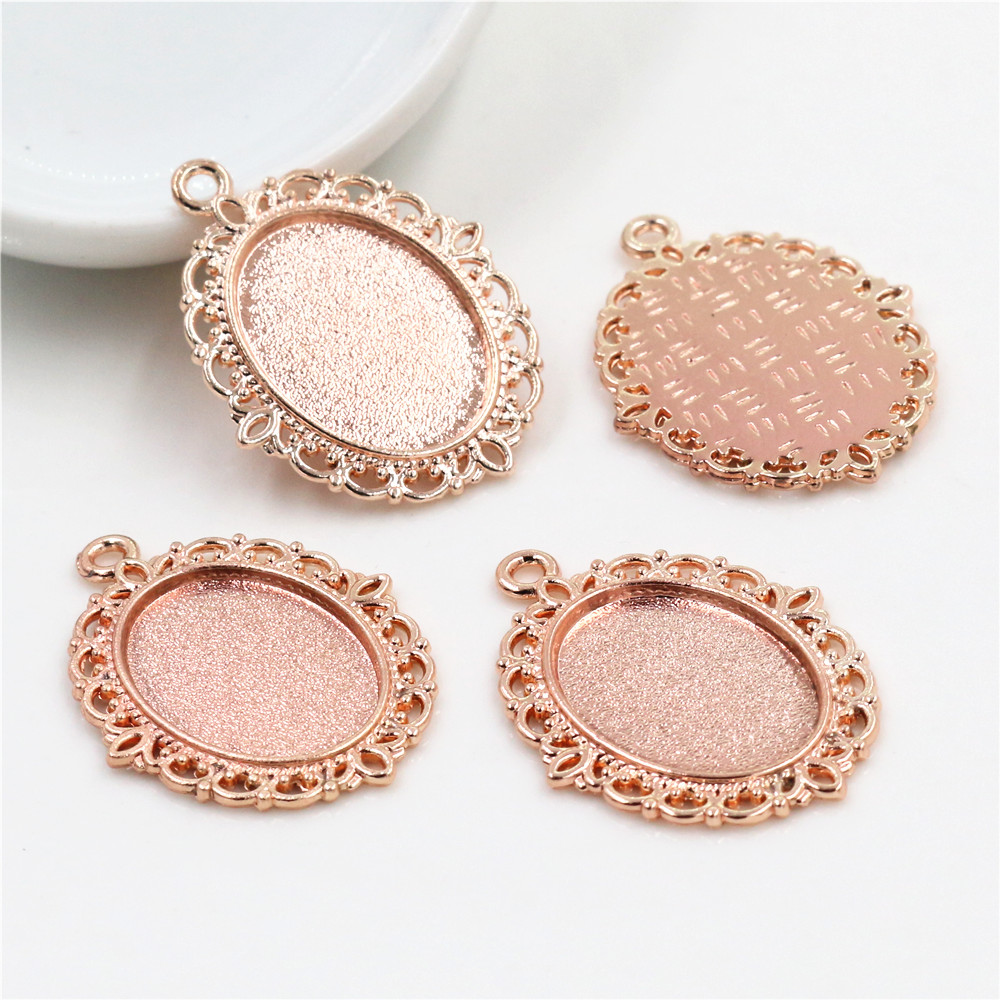 15pcs 13x18mm Inner Size Rose Gold Color Simple Style Cameo Cabochon Base Setting Charms Pendant Necklace Findings  (D2-60)