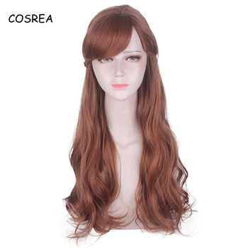 Cosrea Anime Princess Anna Costume Brown Synthetic Wig Anna Cosplay Wig Halloween Party Elsa Anna Adult Long Curvy Wigs Girls фото
