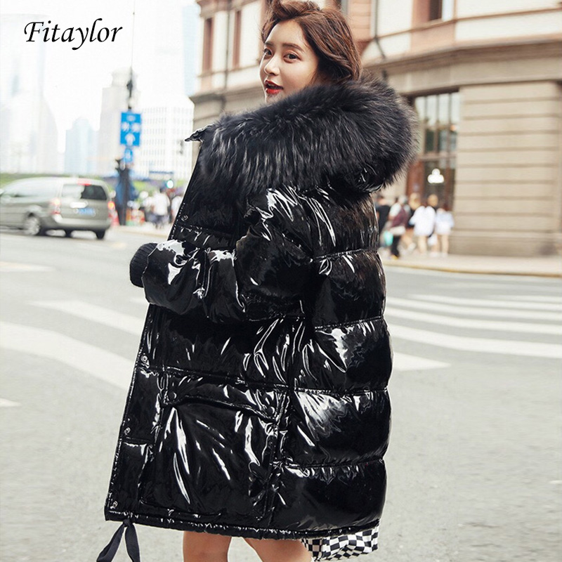 Fitaylor Real Natural Fur Patent Leather Winter Jacket Women Thicken Long Down Parka Hooded Female Duck Down Waterproof Coat