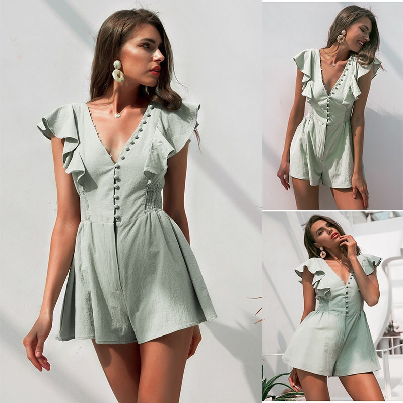 Elegant V Neck Ruched Linen Women Romper Summer Buttons Ruffle Cotton Short Jumpsuit Casual Sexy Light Green Overall -85