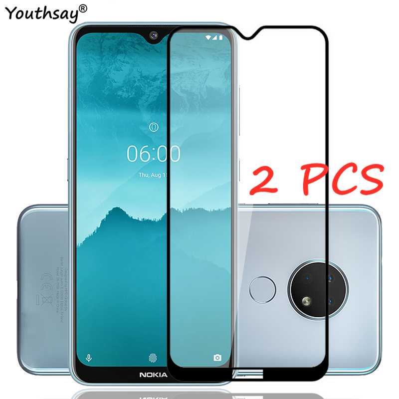2PCS For Nokia 6.2 Glass Screen Protector Full Glue Protective Film For Nokia 6.2 7.2 Tempered Glass For Nokia 6.2