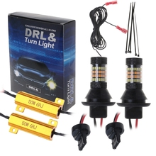 2pc T20 7440/BA15S 1156/BAU15S 96-LED 3014 50W Dual-Color Switchback LED DRL Turn Signal Light Kit free shipping dual color amber white switchback 7440 t20 single filament 20 led projector lens parking drl turn signal light kit